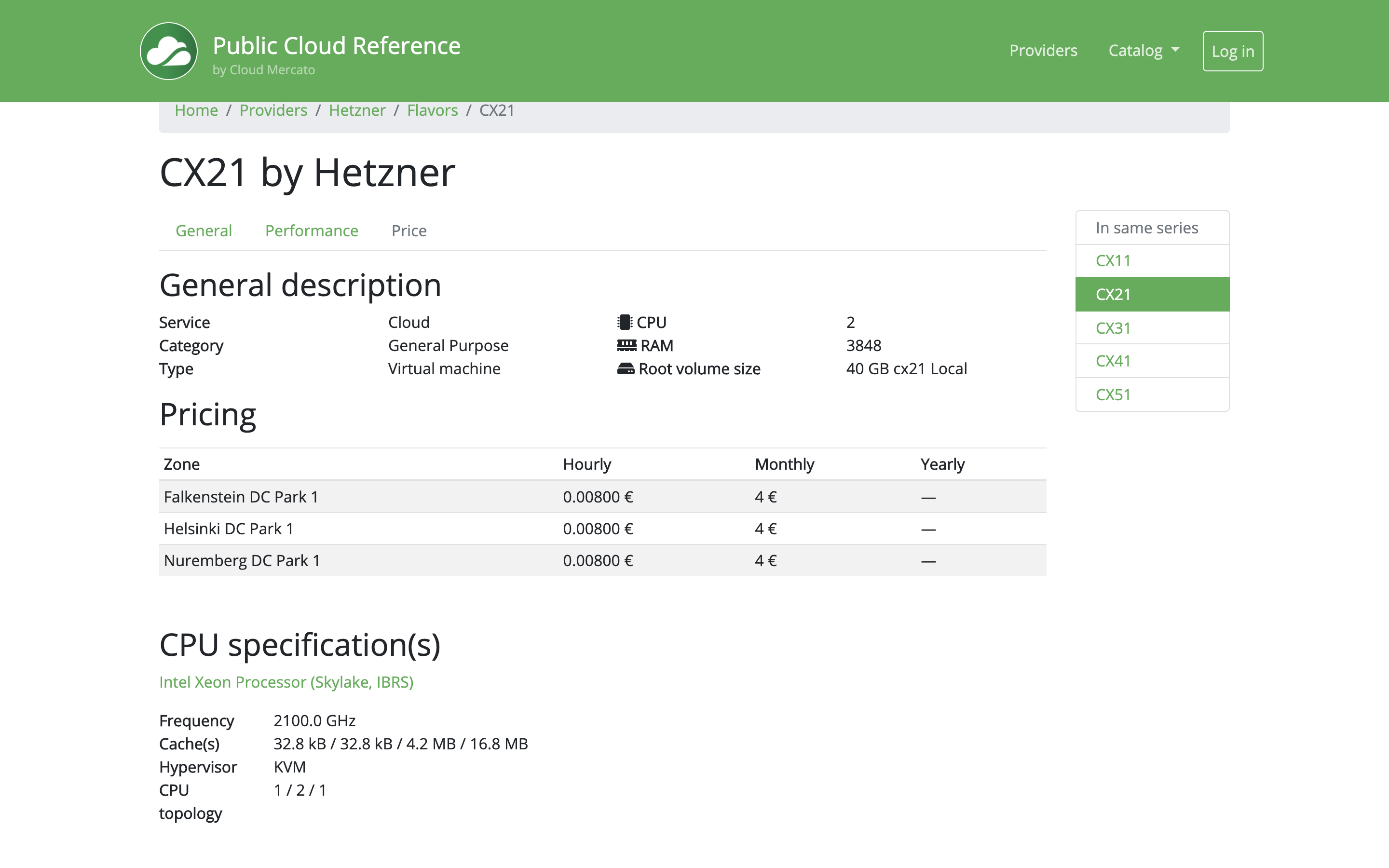 Hetzner CX21 in Public Cloud Reference